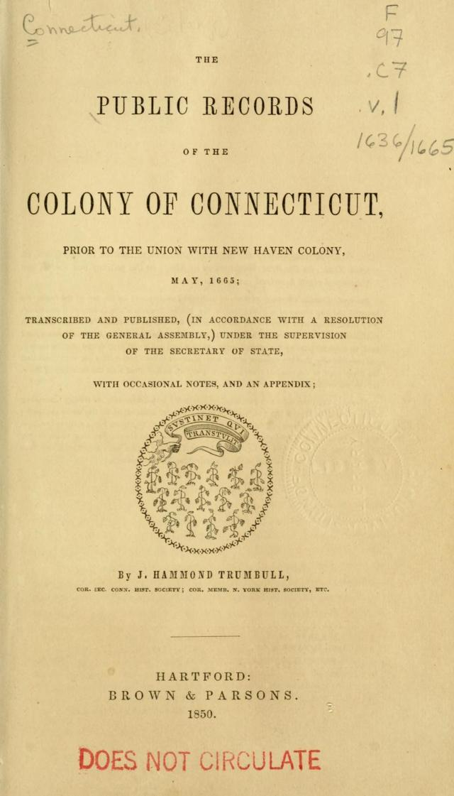 vol 1 - Public Records of the Colony of Connecticut